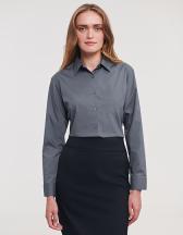 Ladies` Long Sleeve Polycotton Poplin Shirt